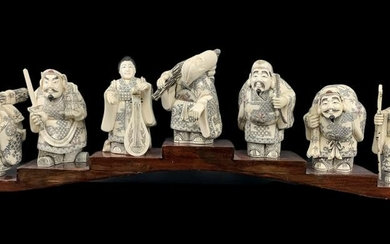 Chinese Carved Bone Seven Gods Of Fortune