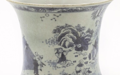 Chinese Qing kangxi blue & white brush pot