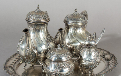 Coffee and tea service on a tray in the Rococo style, 800 silver (5).