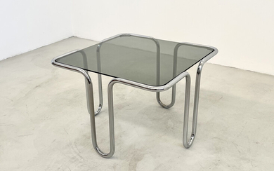 Coffee table in glass and metal. Italy. 1970s