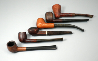 Collection of 6 small old / antique wooden pipes