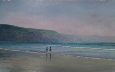 Denby Sweeting (1936-2020) Children Running on the Beach, North Wales