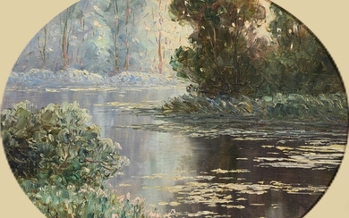 """Emile GAUFFRIAUD (1877-1957) """"The mill of Ellé in Quimperlé"""" hsp oval sbg 33x40.5"""