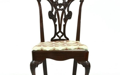 English Chippendale Carved Mahogany Side Chair