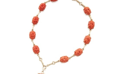 Gold and Coral Necklace-Bracelet Combination, Tiffany & Co.