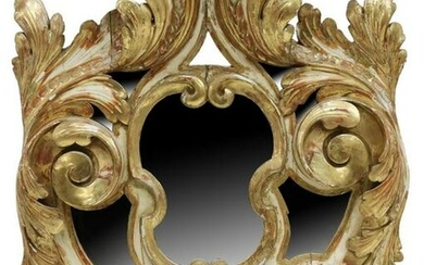 LARGE BAROQUE STYLE CARVED GILTWOOD MIRROR