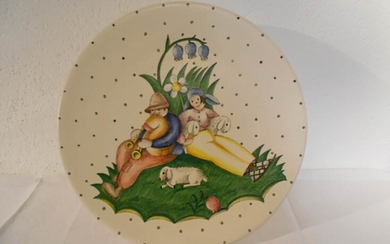 LENCI Plate with farmers decoration Ø 33 cm Stamp under...