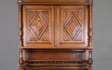 Large French Diamond Carved Double Buffet