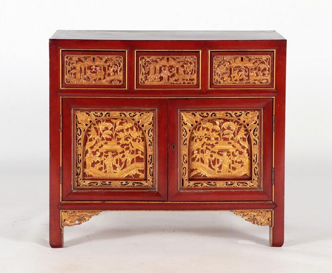 MAHOGANY GILT CARVED CABINET IN THE ASIAN STYLE
