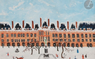 Mary HODGE (born 1936)Snowy Place, 1985Oilon canvas.Signed and dated lower right.(Small damages on the edges).27 x 35 cm
