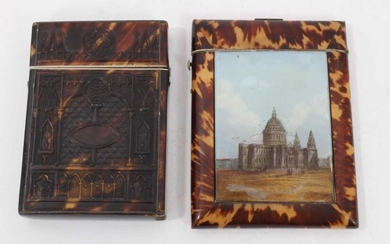 Mid 19th century tortoishell and painted plaque card case