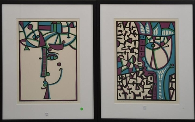 Miguel Jorge Cuban, 20th Century. Two serigraphs in
