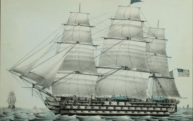 NATHANIEL CURRIER HAND COLORED LITH USS PENNSYLVANIA