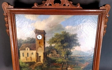 Oil On Canvas With Clock
