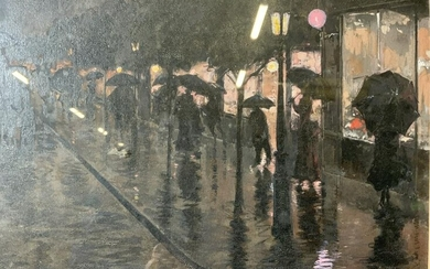 Oil Painting on Canvas Paper Rainy City Street