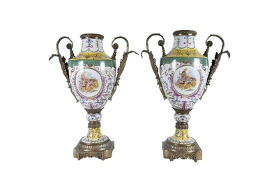PAIR OF BRONZE-MOUNTED PORCELAIN URNS
