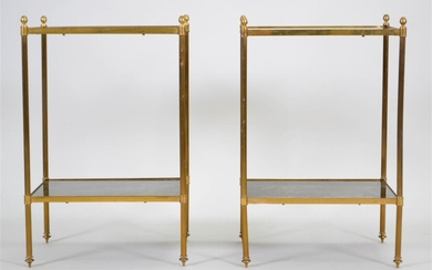 PAIR OF SMALL NEOCLASSICAL STYLE BRASS ANTIQUED MIRRORED ETAGERES