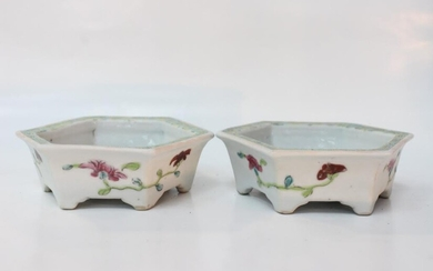 Pair of Chinese Fmaille Rose Porcelain Planter