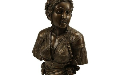 Patinated Bronze Bust of Diana.