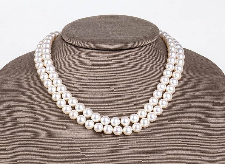 Pearls and diamonds necklace two strands of satltwater cultured pearls...