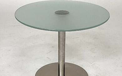 """NOT SOLD. Pedrali R&D: """"Inox"""". A circular steel coffee table with tempered glass top. Manufactured..."""