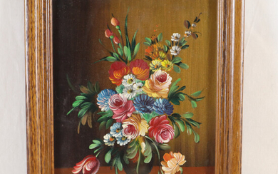 RHOE, H. (20. JH. ). - Still life with a bouquet of flowers in a vase, oil painting.