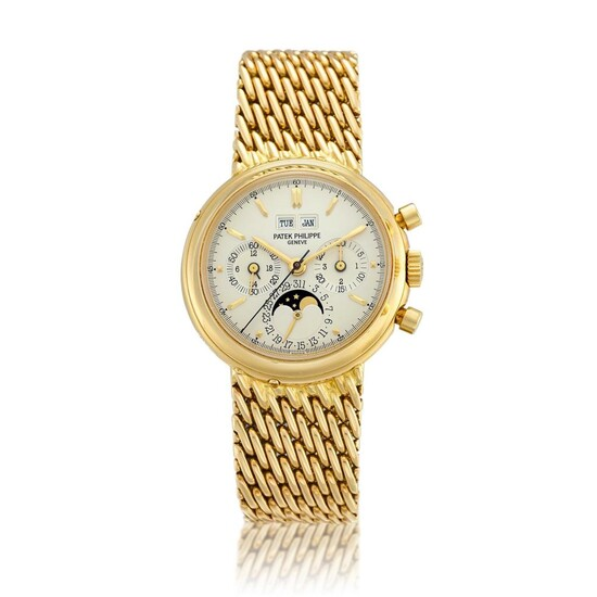 Reference 3970/2   A yellow gold perpetual calendar chronograph bracelet watch with moon phases, 24 hours and leap year indication, Made in 1992   百達翡麗   型號3970/2   黃金萬年曆計時鏈帶腕錶,備月相、24小時及閏年顯示,1992年製, Patek Philippe