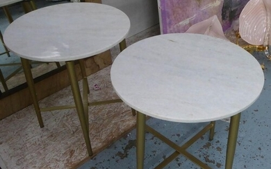 SIDE TABLES, a pair, 1960's style, white marble tops, 44.5cm...