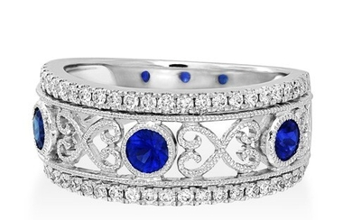 Sapphire Ring set with 0.52ct. sapphires and 0.36 ct. diamon...