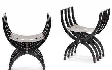 """Søren Robert Lund: """"Chair for Arken"""". A pair of chairs with frame of laminated glossy wood. Seat and armrests of stainless steel. (2) – Bruun Rasmussen Auctioneers of Fine Art"""