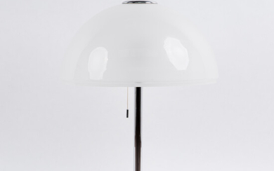 Table lamp / lamp, metal, chrome-plated, opal glass.