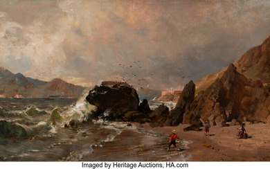 Thomas Hill (1829-1908), A View of Fort Point from Baker Beach, San Francisco