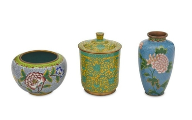Three Chinese cloisonne table items