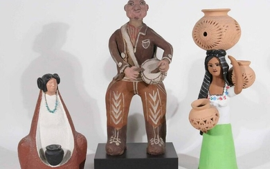 Three Native American Pottery Figures