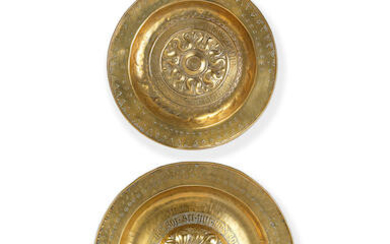 Two late 16th century Nuremberg repousse brass alms dishes
