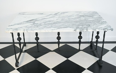 WROUGHT IRON AND MARBLE DINING TABLE