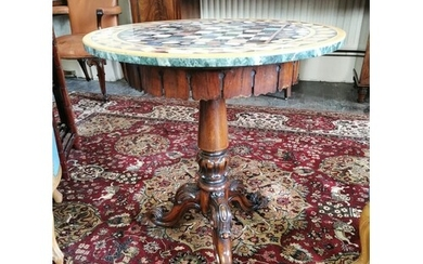 William IV mahogany centre table with marble top raise on ta...