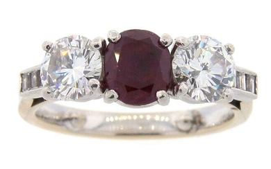 1.28-ct OVAL NATURAL RUBY DIAMOND WHTIE GOLD PLATINUM