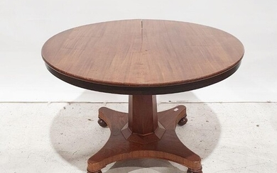 19th century mahogany circular dining table on faceted colum...