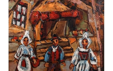 Henry D'Anty (1910-1998) French. Farmworkers in a Street, Oi...