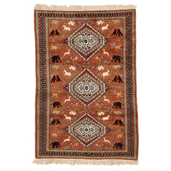 4'1 x 6'6 Hand-Knotted Indo-Persian Pictorial Area Rug