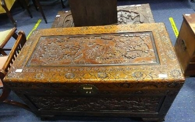 A Camphorwood Chest, the heavily carved exterior in foliate ...