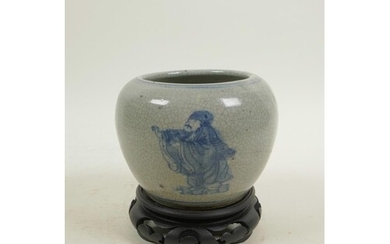 A Chinese blue and white crackle ware pot decorated with imm...