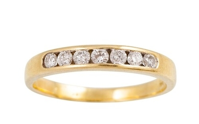 A DIAMOND HALF ETERNITY RING, the brilliant cut diamonds cha...