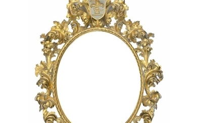 A LARGE 19TH CENTURY ITALIAN CARVED GILTWOOD FLORENTINE OVAL...