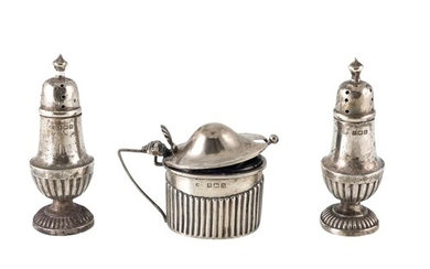 A SET OF THREE GEORGE V SILVER CONDIMENT SET, gadrooned deco...
