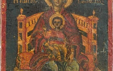 A SMALL ICON SHOWING THE ENTHRONED MOTHER OF GOD WITH