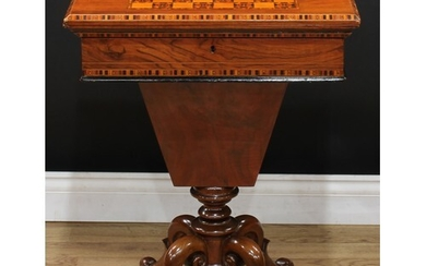 A Victorian walnut and parquetry combination games, card and...