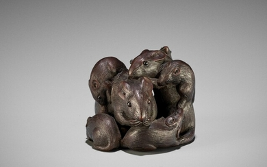 A WOOD NETSUKE OF A CLUSTER OF RATS, ATTRIBUTED TO KAIGYOKUDO MASATERU