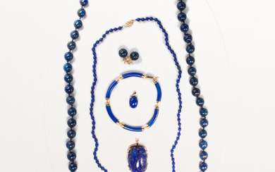 A group of blue hardstone jewelry, incl. lapis